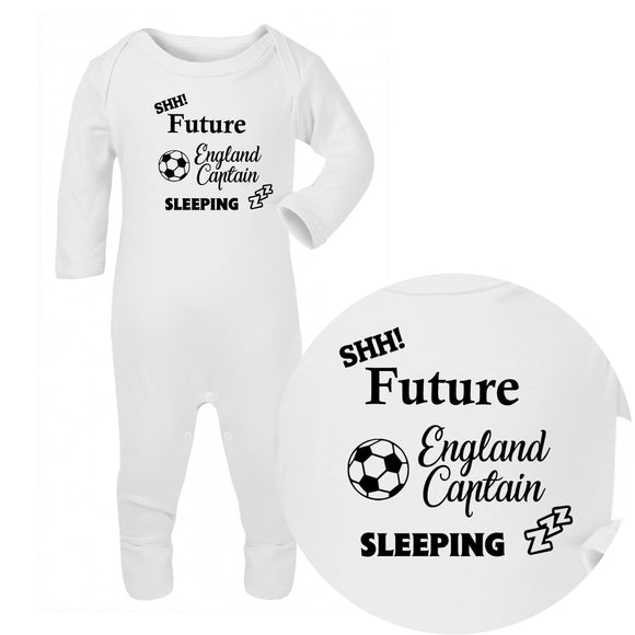 Personalised Baby Sleepsuit - Football (Black) - Fizzy Strawberry Gifts