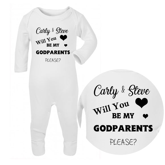 Personalised Baby Sleepsuit - Godparents (Black) - Fizzy Strawberry Gifts
