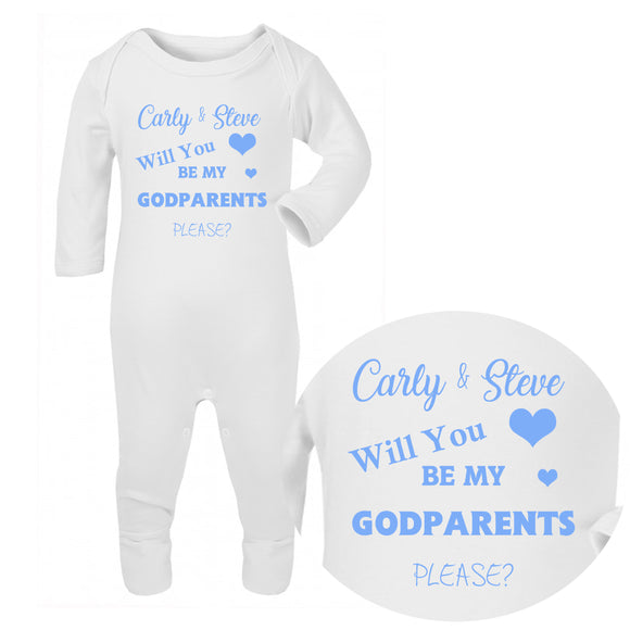 Personalised Baby Sleepsuit - Godparents (Blue) - Fizzy Strawberry Gifts
