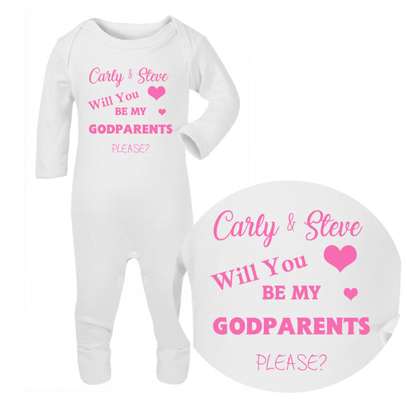 Personalised Baby Sleepsuit - Godparents (Pink) - Fizzy Strawberry Gifts