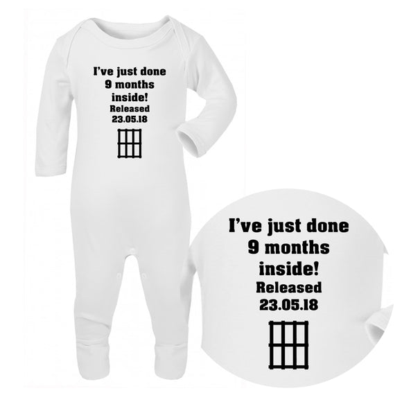 Personalised Baby Sleepsuit - 9 Months Inside - Fizzy Strawberry Gifts