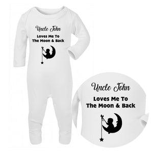 Personalised Baby Sleepsuit - Moon (Black) - Fizzy Strawberry Gifts