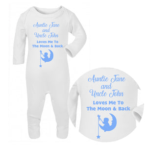 Personalised Baby Sleepsuit - Moon (Blue) - Fizzy Strawberry Gifts