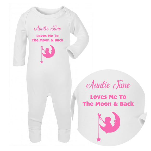Personalised Baby Sleepsuit - Moon (Pink) - Fizzy Strawberry Gifts