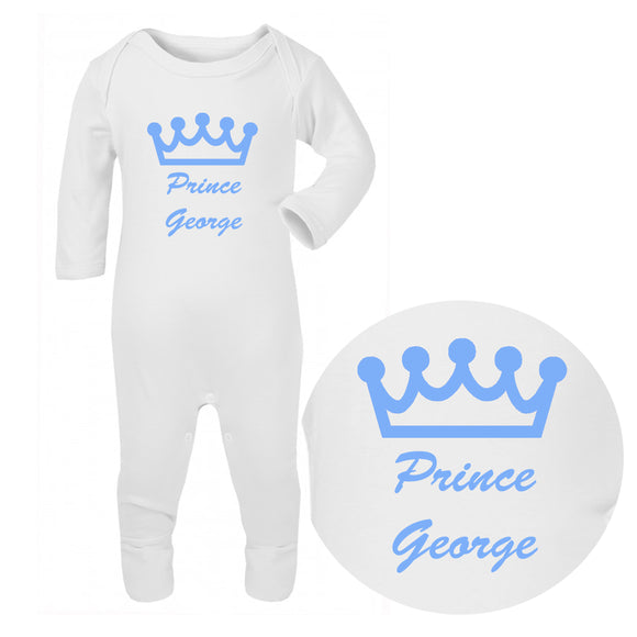 Personalised Baby Sleepsuit - Prince (Blue) - Fizzy Strawberry Gifts