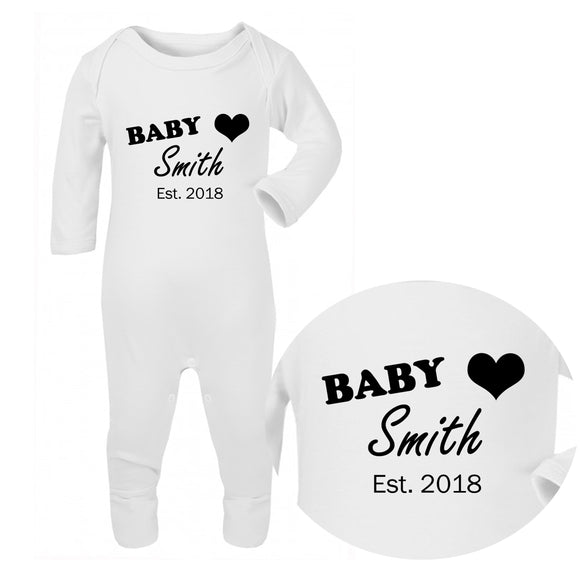 Personalised Baby Sleepsuit - Surname (Black) - Fizzy Strawberry Gifts