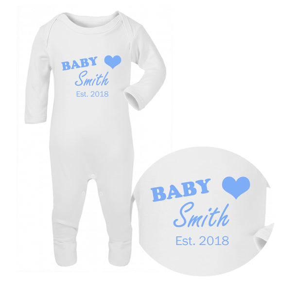 Personalised Baby Sleepsuit - Surname (Blue) - Fizzy Strawberry Gifts