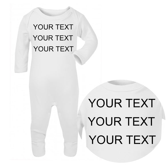 Personalised Baby Sleepsuit - Your Text (Black) - Fizzy Strawberry Gifts