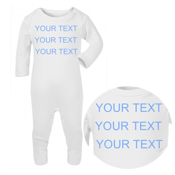 Personalised Baby Sleepsuit - Your Text (Blue) - Fizzy Strawberry Gifts