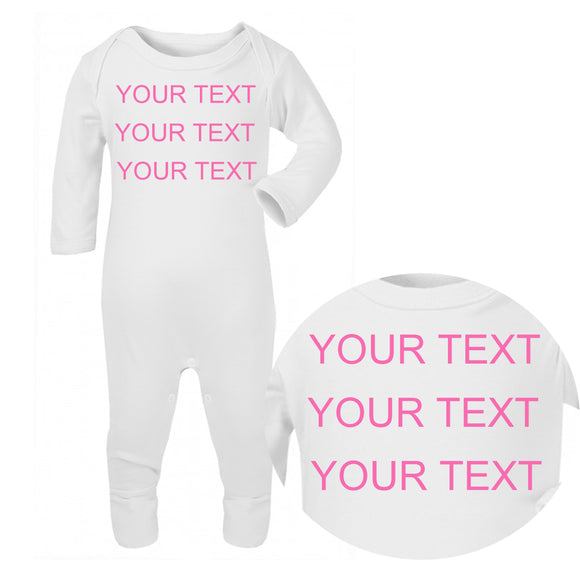 Personalised Baby Sleepsuit - Your Text (Pink) - Fizzy Strawberry Gifts
