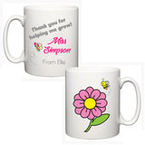 Personalised Thank You Teacher Mug - Flower - Fizzy Strawberry Gifts
