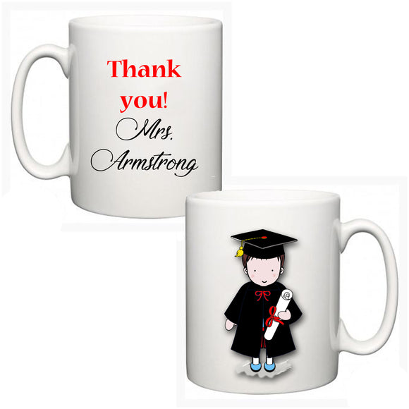 Personalised Thank You Teacher Mug - Graduate Boy - Fizzy Strawberry Gifts