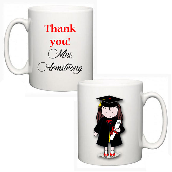 Personalised Thank You Teacher Mug - Graduate Girl - Fizzy Strawberry Gifts
