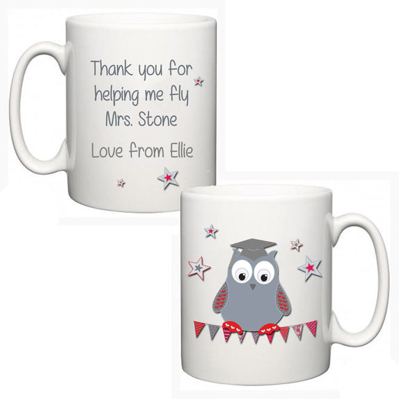 Personalised Thank You Teacher Mug - Owl - Fizzy Strawberry Gifts