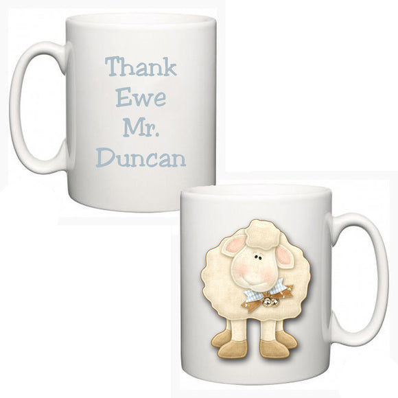 Personalised Thank You Teacher Mug - Sheep - Fizzy Strawberry Gifts
