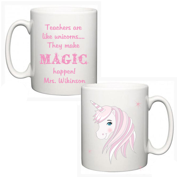 Personalised Thank You Teacher Mug - Unicorn - Fizzy Strawberry Gifts