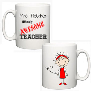 Personalised Thank You Teacher Mug - Awesome - Fizzy Strawberry Gifts