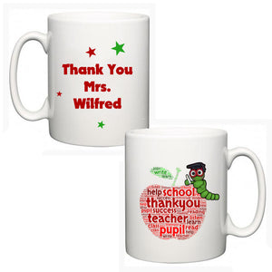 Personalised Thank You Teacher Mug - Apple - Fizzy Strawberry Gifts
