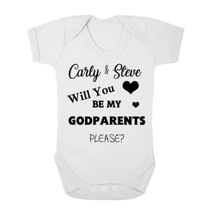 Personalised Baby Vest - Godparent (Black) - Fizzy Strawberry Gifts