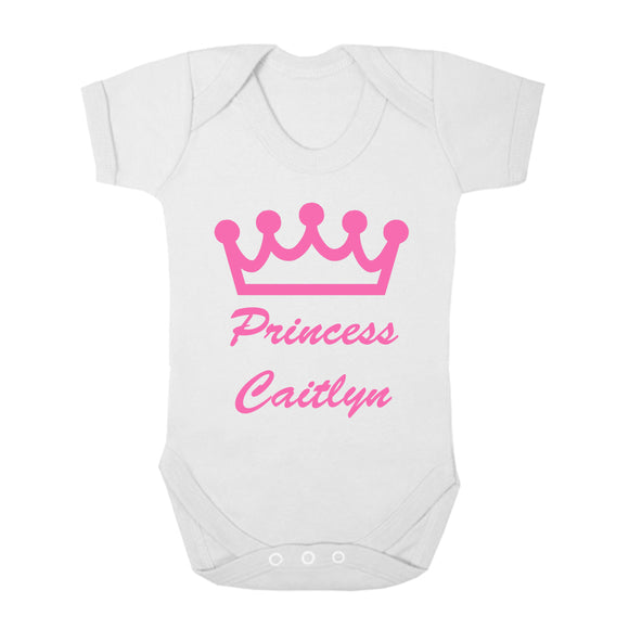 Personalised Baby Vest - Princess Crown - Fizzy Strawberry Gifts