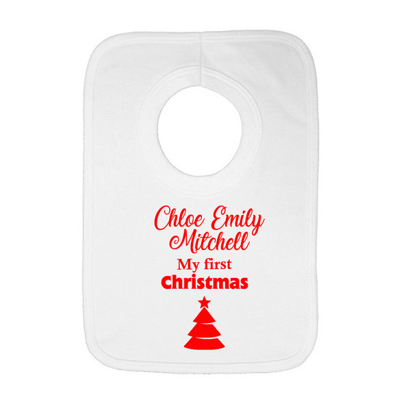 Personalised Baby Bib - Christmas (Red) - Fizzy Strawberry Gifts