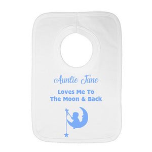 Personalised Baby Bib - Moon and Back (Blue) - Fizzy Strawberry Gifts
