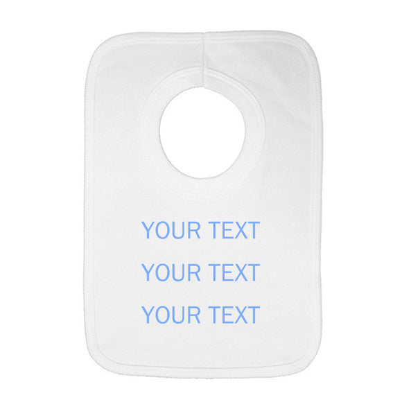 Personalised Baby Bib - Your Text (Blue) - Fizzy Strawberry Gifts