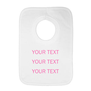 Personalised Baby Bib - Your Text (Pink) - Fizzy Strawberry Gifts