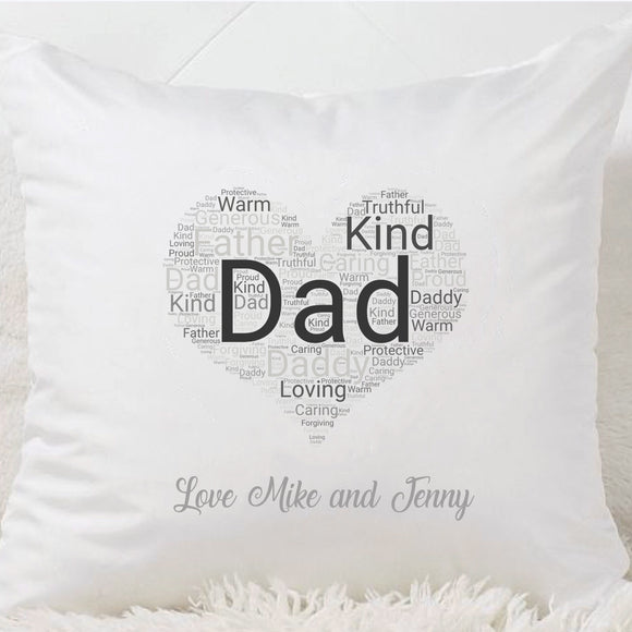 Dad Word Cloud Heart Cushion
