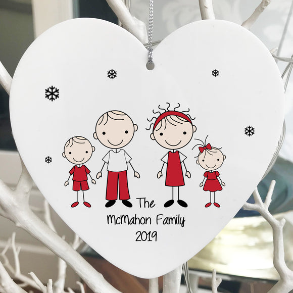 Christmas Acrylic Tree Decoration (Family)