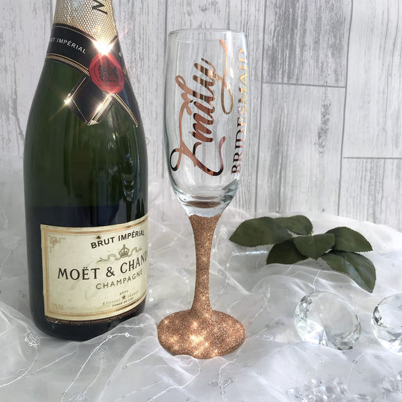 Personalised Champagne Glitter Glass - Party Gift