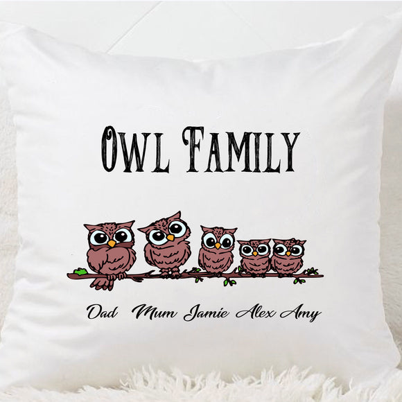 Mum Owl Family Cushion - Fizzy Strawberry Gifts