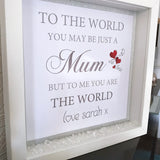 Mum To The World Frame - Fizzy Strawberry Gifts