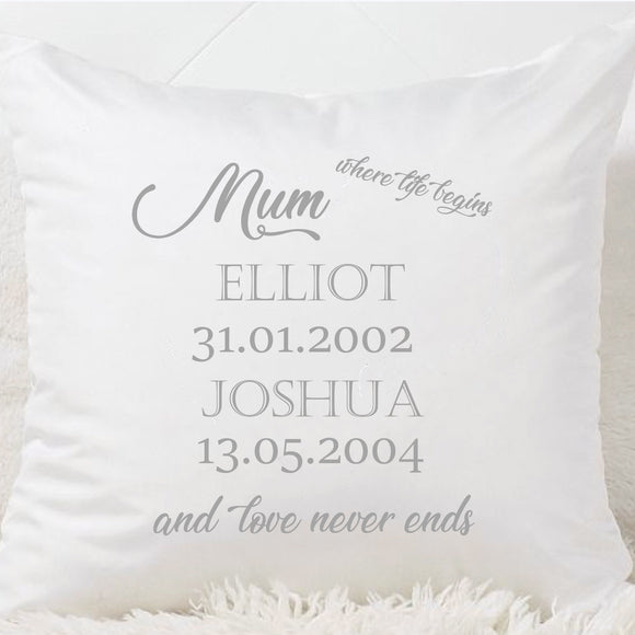 Mum (Or Nan) Where Life Begins Cushion - Fizzy Strawberry Gifts