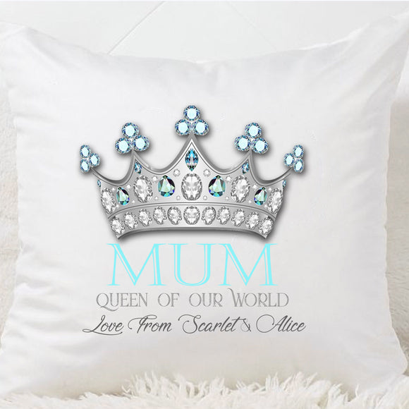 Mum Queen Of Our World Cushion - Fizzy Strawberry Gifts