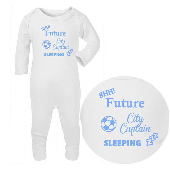 Personalised Baby Sleepsuit - Football (Blue) - Fizzy Strawberry Gifts