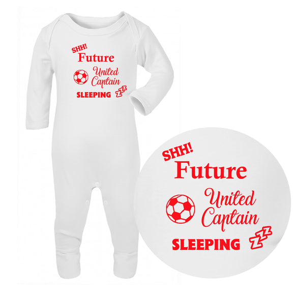Personalised Baby Sleepsuit - Football (Red) - Fizzy Strawberry Gifts