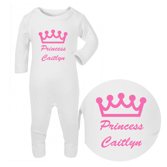 Personalised Baby Sleepsuit - Princess (Pink) - Fizzy Strawberry Gifts