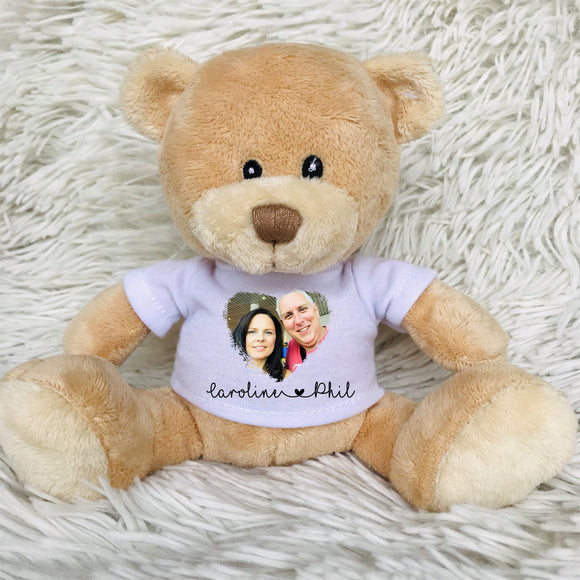 Couple Photo Heart Teddy Bear - Fizzy Strawberry Gifts