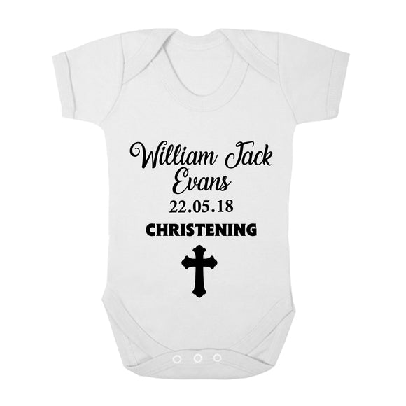 Personalised Baby Vest - Christening (Black) - Fizzy Strawberry Gifts