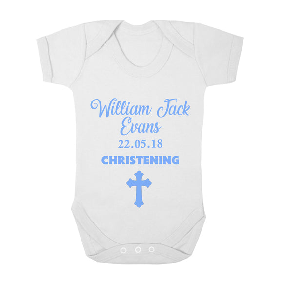 Personalised Baby Vest - Christening (Blue) - Fizzy Strawberry Gifts