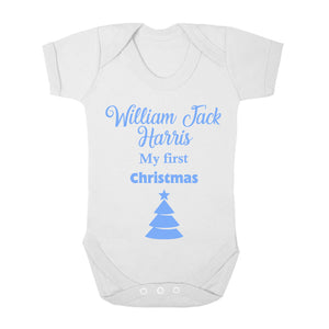 Personalised Baby Vest - Christmas (Blue) - Fizzy Strawberry Gifts