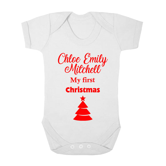 Personalised Baby Vest - Christmas (Red) - Fizzy Strawberry Gifts