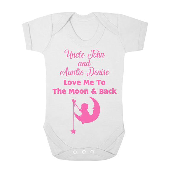 Personalised Baby Vest - Moon and Back (Pink) - Fizzy Strawberry Gifts