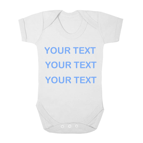 Personalised Baby Vest - Your Text (Blue) - Fizzy Strawberry Gifts
