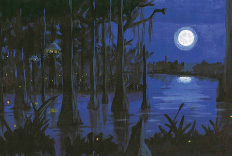 Fleurdy Birds in the Bayou at Night: 11x14 Print