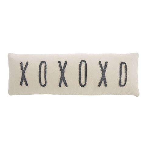 XOXOXO Blue and Canvas Pillow