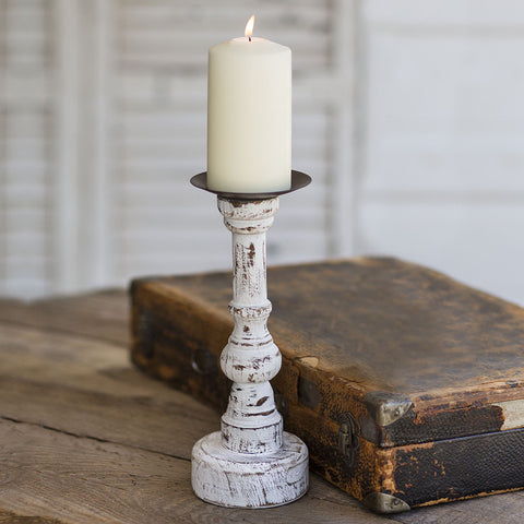 Distressed White Wood Candlestick from One Cottage Way Coastal Farmhouse Decor