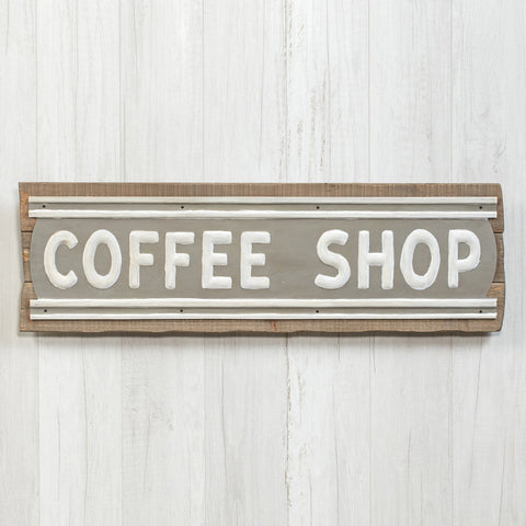 Coffee Shop sign with wood background and embossed vintage style metal sign