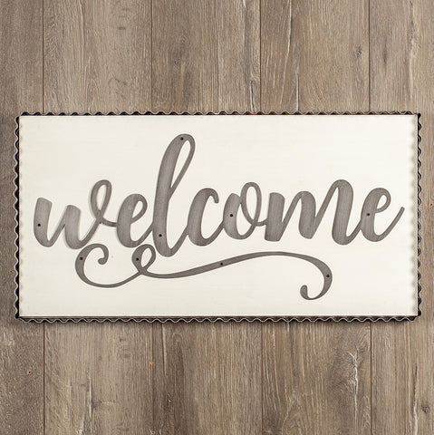White Wood Farmhouse Welcome Sign with galvanized frame and letters from One Cottage Way Coastal Farmhouse Decor